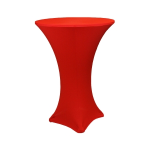 red stretch table linen