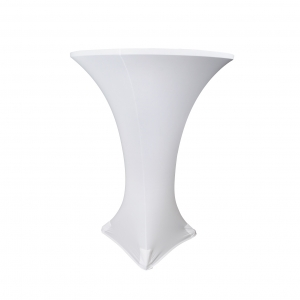 white stretch table linen