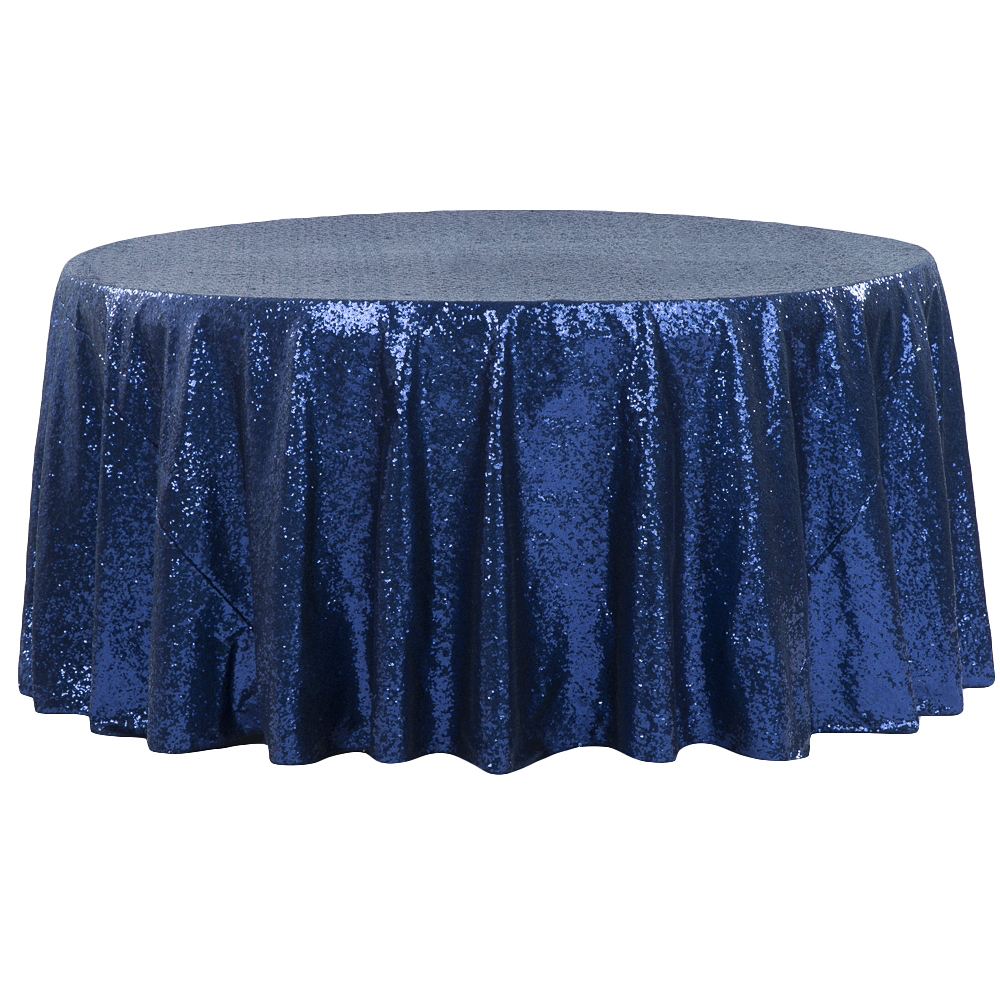 Navy Blue Sequin Table Runner Linen